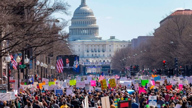 Rally-goers demonstrate on Pennsylvania Avenue in Washington, DC during the March for Our Lives Rally on Saturday. Photograph: Alex Edelman/AFP/Getty Images