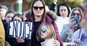 Mother and daughter Emily and Claire Lantz  pictured at a rally for the reform of American gun laws in Dublin. Photograph: Tom Honan