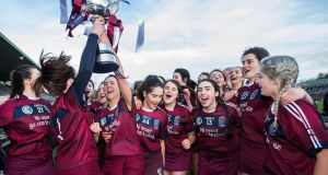 Slaughtneil celebrate after retaining their All-Ireland club camogie crown. Photograph: Tommy Dickson/Inpho
