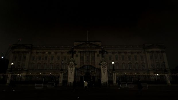 Buckingham Palace in London after it switched off its lights for an hour to mark Earth Hour to raise awareness about climate change. Photograph: Jonathan Brady/PA Wire