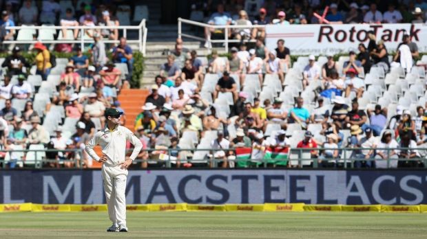 Cameron Bancroft fields during the fourth day of the third Test against South Africa. Photograph: EJ Langer/Getty