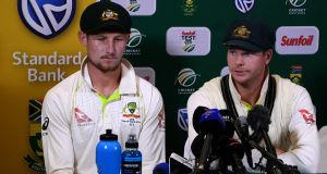 Cameron Bancroft (L) and Steve Smith admitted to ball-tampering during the third Test against South Africa. Photograph: AFP