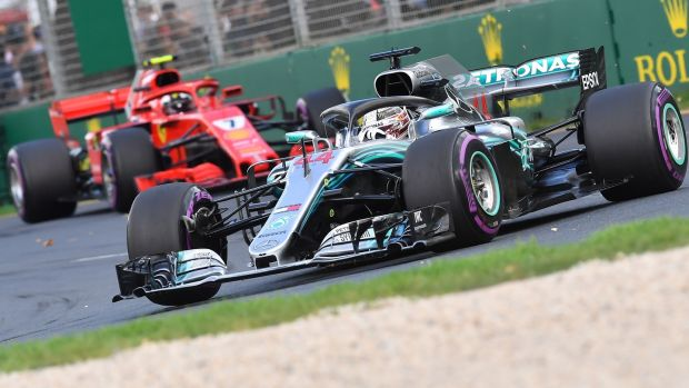 Mercedes' Lewis Hamilton finished second in Melbourne. Photograph: Paul Crock/AFP