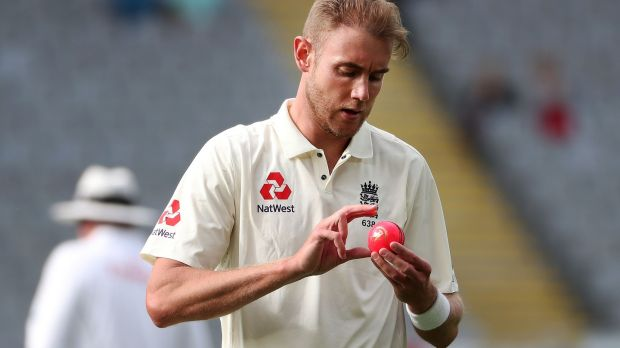 Stuart Broad in action during England's first Test against New Zealand in Auckland. Photograph: Fiona Goodall/AFP
