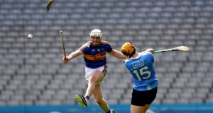 The hurley of Tipperary's Michael Cahill breaks while blocking a shot from Paul Winters during the Allianz Hurling League Division 1A quarter-final at Croke Park. Photograph: Bryan Keane/Inpho