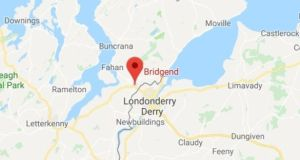 Map shows the location of Bridgend in Co Donegal, near the Border with Northern Ireland, where the incident took place.