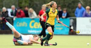 Railway Unions's Kate McKenna created a goal in each half for Cecelia Joyce and Kate Dillon to secure Junior Cup success. Photograph: Inpho