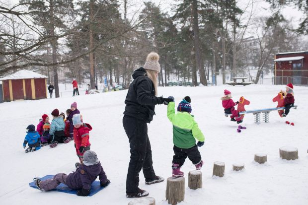 The Seafarer's Preschool in a suburb of Stockholm, where playtime is organised to prevent girls and boys from dividing up along traditional gender lines.