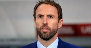 Gareth Southgate: the England manager won't say a syllable out of place between here and the Tunisia game 12 weeks from now. Photograph: Mike Egerton/PA