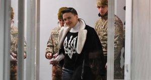 Nadiya Savchenko on Friday. Ms Savchenko declared a hunger strike  after she was detained over accusations she plotted a terrorist attack in Kiev. Photograph: Genya Savilov/AFP/Getty Images
