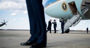 Donald Trump: the US president boards Air Force One for Mar-a-Lago on Friday. Photograph: Brendan Smialowski/AFP