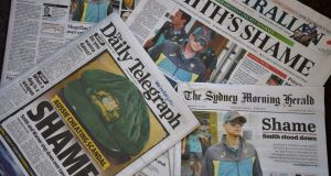 Monday's front pages in Sydney. Photograph: Peter Parks/AFP