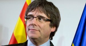 Former Catalan president Carles Puigdemont: the final decision on whether to extradite him from Germany to Spain will be taken by the higher regional court in Kiel. Photograph: Virginia Mayo/AP
