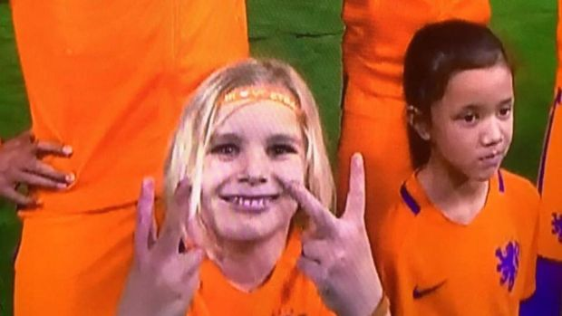 A Dutch mascot ahead of the friendly with England.