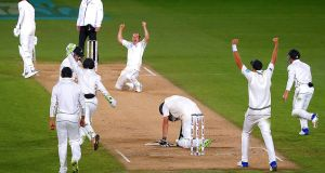 Todd Astle celebrates the wicket of James Anderson's, completing New Zealand's first test win over England. Photograph: David Gray/Reuters