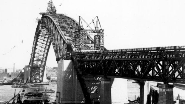 Upon its completion in 1932, the Sydney Harbour Bridge was the largest single-arch bridge in the world. Photograph: Fox Photos/Getty Images