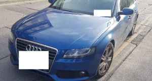 The blue Audi A4 estate seized in Dublin on Monday. Photograph: Garda Press Office