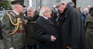 President Michael D Higgins with  former minister Martin Mansergh at the funeral of former ceann comhairle Seán Treacy in Clonmel. Photograph: John D Kelly