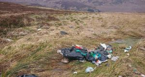 "Illegal dumping on the Sally Gap:  Dara Grehan described finding ""medical waste, latex gloves and medical wrappers, probably syringes ...  household rubbish, nappies"". Photograph: Dara Grehan"