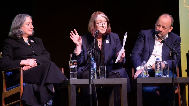Catríona Crowe, flanked by actor Eleanor Methven and Gate Theatre chairman Peter Crowley, chairs the discussion of accountability at Liberty Hall. Photograph: Dara Mac Dónaill/The Irish Times