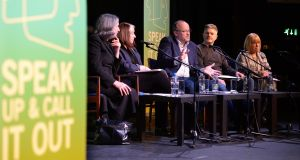 Catríona Crowe, Eleanor Methven, Peter Crowley, Phillip McMahon and Sheila Pratschke in discussion at Speak Up & Call It Out, at Liberty Hall, Dublin. Photograph: Dara Mac Dónaill/The Irish Times