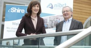 Susan Hynes, Dunboyne site lead for Shire and Dominic Carolan, CEO NIBRT. Photograph: Conor McCabe