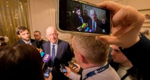 Minister for Justice Charlie Flanagan  at the AGSI annual delegate conference in  Tullow, Co Carlow. Photograph: Dylan Vaughan.