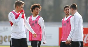 Matthias Ginter, Leroy Sane, Lars Stindl and Julian Draxler at  training session  in Berlin. Photograph:   Joachim Sielski/Bongarts/Getty Images