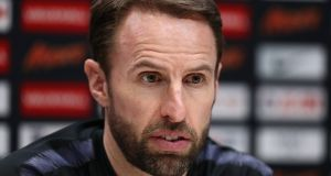 Gareth Southgate during an England press conference on the eve of their international friendly against Italy at Tottenham Hotspur Training Centre. Photograph: Catherine Ivill/Getty Images