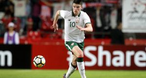Declan Rice of the Irish under-21 squad. Photograph: ©INPHO/Ryan Byrne