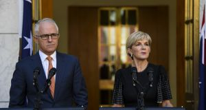 Australian prime minister Malcolm Turnbull and Australian foreign minister Julie Bishop speak to the media during a press conference at Parliament House in Canberra on Tuesday. Photograph: EPA