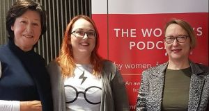Podcast presenter Kathy Sheridan with Julie Ronaghan and Bébhinn Nic Liam from the Endometriosis Association of Ireland