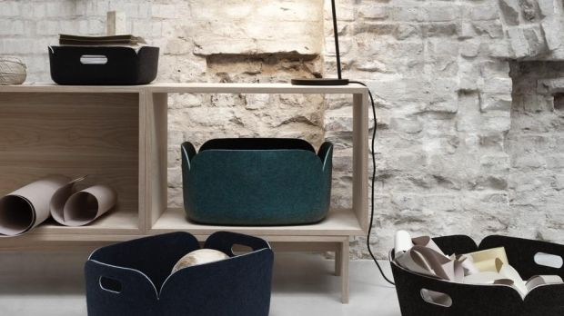 These polymer felt baskets by Finnish designer Mika Tolveanen for Danish company Muuto will work as desk tidies, magazine holders and fuel baskets.