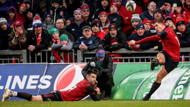 Munster's Conor Murray with Keatley as he kicks a conversion during their win over Castres in the last pool match. Photo: Gary Carr/Inpho