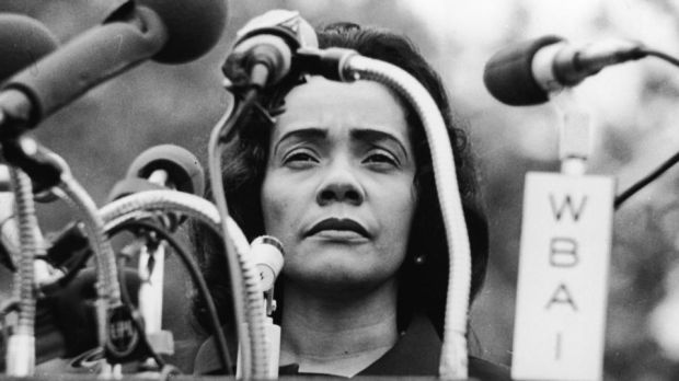 Coretta Scott King at a rally for peace in Vietnam in Central Park, New York, on April 27th, 1968, weeks after her husband Martin Luther King was murdered in Memphis. Photograph: Hulton Archive/Getty Images