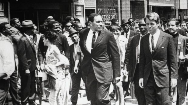 Robert Kennedy marches Martin Luther King's funeral procession in Atlanta, Georgia, on April 7th, 1968.