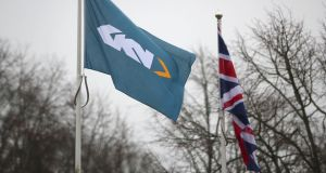 Flags outside  GKN HQ in Redditch, UK. Phtotgraph: Reuters