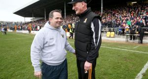 Wexford  manager Davy Fitzgerald with his Kilkenny counterpart Brian Cody at Nowlan Park earlier this month. Photograph: Donall Farmer/Inpho