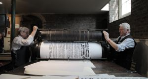 Full size replicas of the 1916 Proclamation are being printed at the National Print Museum as part of Printfest