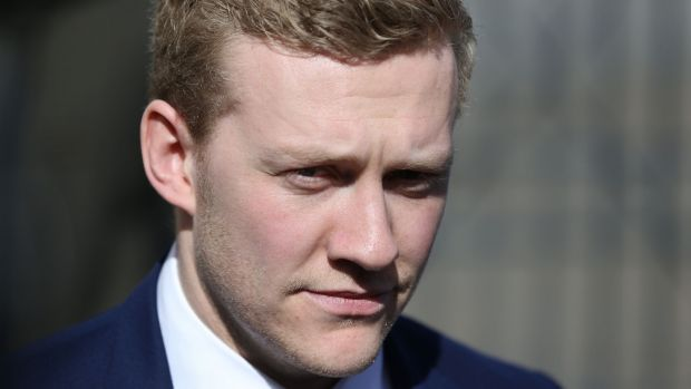 Stuart Olding leaving Belfast Crown Court on Wednesday. Photograph: Brian Lawless/PA
