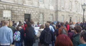 The decision was announced to cheering students during a lunchtime protest organised by the #TakeBackTrinity campaign.