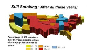 Part of an illustration by Prof Tom Koch mapping the presence of long-lived smokers across the US to give the impression of a correlation between long-life and tobacco use. Illustration: Tom Koch