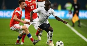 N'Golo Kante in action against Russia on Tuesday night. Photograph: Franck Fife/AFP