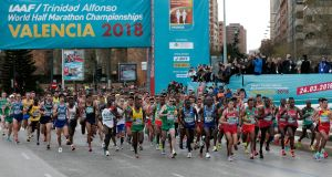 Athletes in action during the IAAF Men's World Half Marathon Championships  in Valencia. Photograph: Miguel Angel Polo/EPA