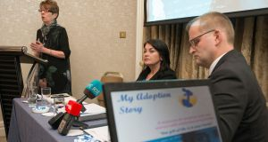 Prof Patricia Casey speaking at the launch of  myadoptionstory.ie website, a  resource for women with crisis pregnancies who are considering their options, with website founder Dr Fidelma Healy-Eames and Minister of State John Paul Phelan. Photograph: Dave Meehan /The Irish Times