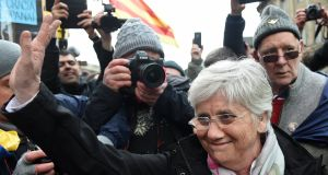 Former Catalan minister Clara Ponsatí leaves after she was granted bail, following her appearance at Edinburgh Sheriff Court in Edinburgh, Scotland. Photograph: EPA/Andy Rain