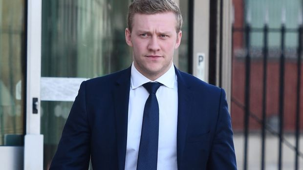 Ireland rugby player Stuart Olding outside court after he was found not guilty of rape. Photograph Pacemaker Press