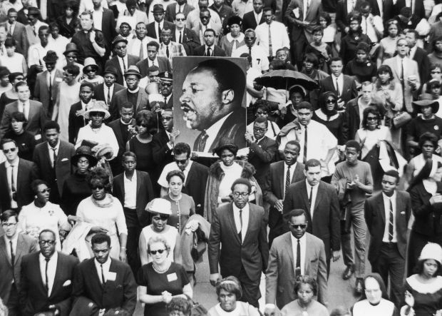 The procession at Martin Luther King's funeral which had taken place just a few days previous and cast a shadow over the 1968 Masters and the largely black population of Augusta, Georgia. Photo: Getty Images