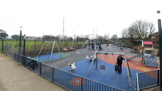 The playground in Grangegorman: local community workers were impressed that it was the first thing to be built on the site. Photograph: Dara Mac Dónaill