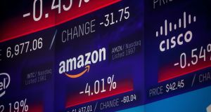 Shares in Amazon fell significantly on Wednesday (above) but tech shares recovered in early trading on Thursday